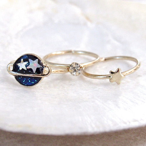 Saturn Star Midi Ring Set (3pc)