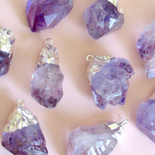 Load image into Gallery viewer, Chunky Silver Dipped Amethyst Necklaces