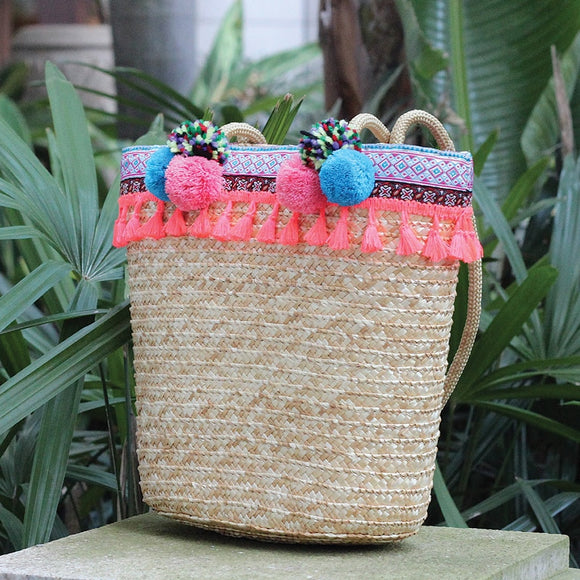 Large Beach Straw Tote Bag with Poms