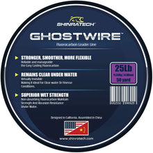 Load image into Gallery viewer, Shinratech Ghostwire Fluorocarbon Leader Line - 25lb 50yard spool