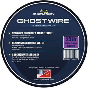 Shinratech Ghostwire Fluorocarbon Leader Line - 25lb 50yard spool