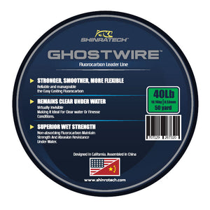 Shinratech Ghostwire Fluorocarbon Leader Line - 40lb 50yard spool