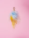 blue & yellow Dip Dyed Mongolian Sheep Fur Tassel £49