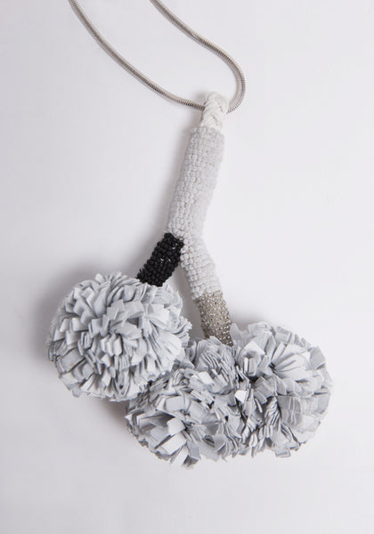 White Pom Poms Necklace - £188