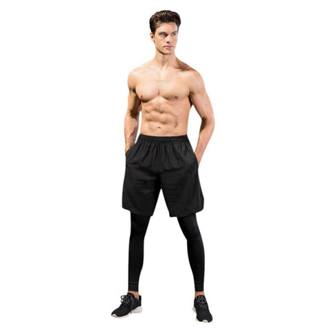 Set Of Men's Compression Pants & Loose Fitting Shorts