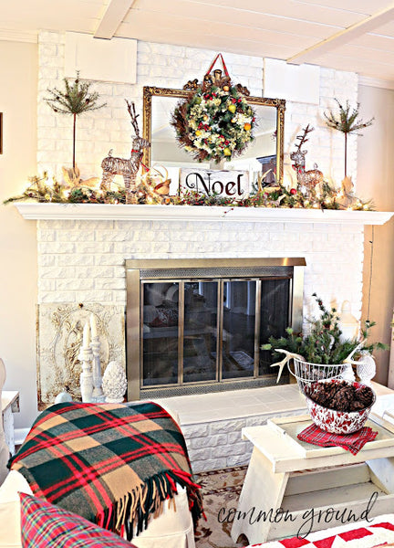 Woodsy Christmas Mantel in the Hearth Room