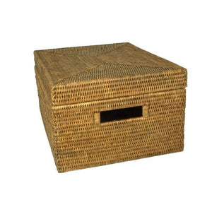 Rattan Rectangle Storage Basket w/Lid