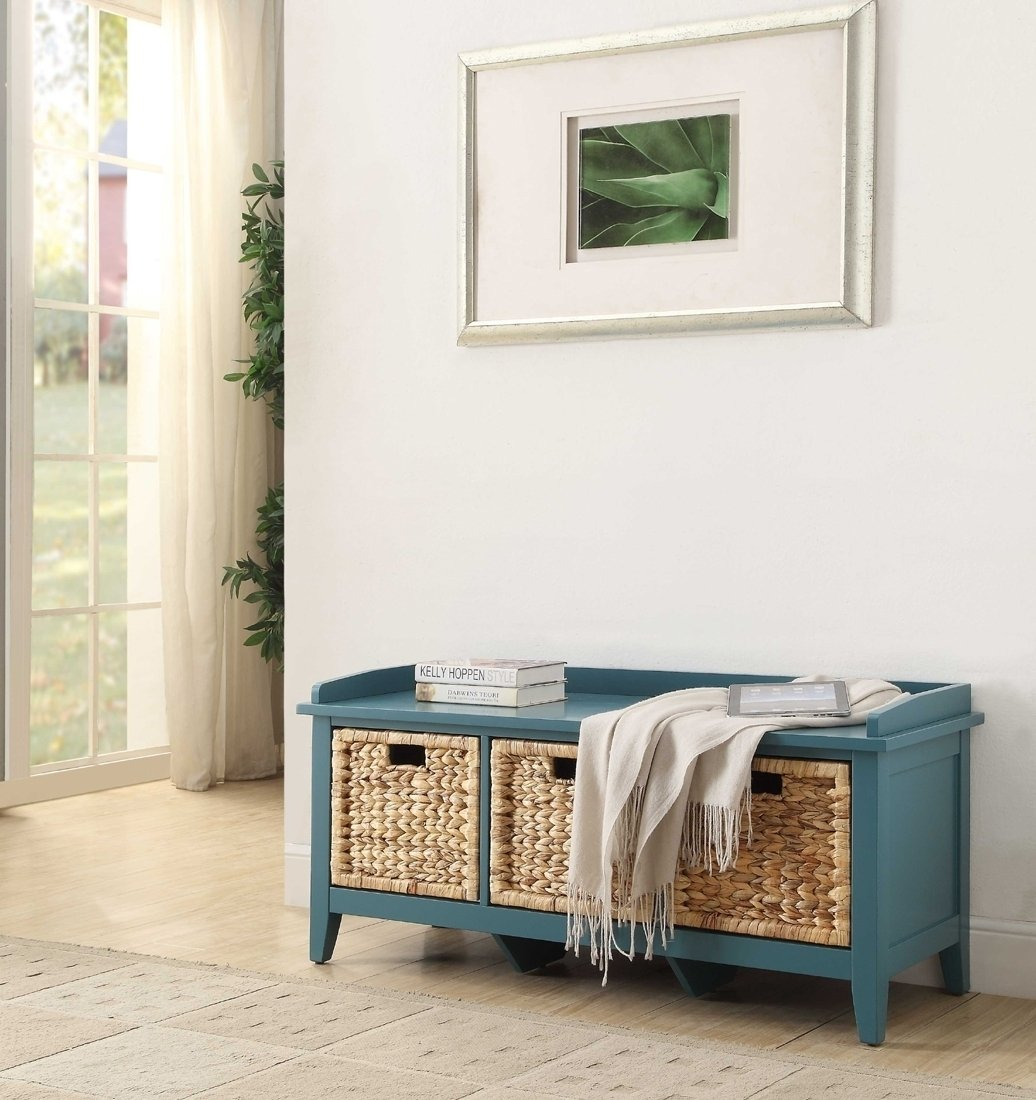 Acme 96761 Flavius Teal Finish Bench with Storage Baskets