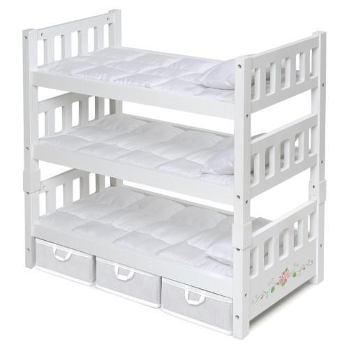 1-2-3 Convertible Doll Bunk Bed for 18 in. Doll with Storage Baskets - White Rose