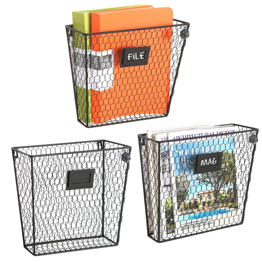 Wall Mounted Rustic Wire Mail Sorter Rack w/ Erasable Chalkboard Labels, Set of 3