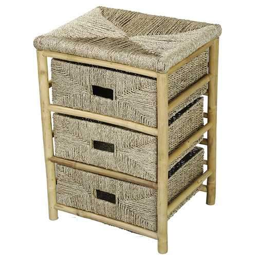 Bamboo And Open Frame Storage Cabinet W/ 3 Stoarge Baskets - Bamboo In Natural