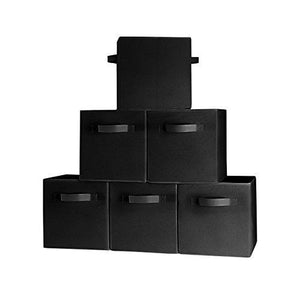 (6-Pack, Black) Durable Foldable Storage Cubes With Two Handles, Ideal For Shelves Baskets Bins Containers Home Decorative Closet Organizer Household Fabric Cloth Collapsible Box Toys Storages Drawer