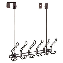 Load image into Gallery viewer, Buy now interdesign classico wall mount over door storage rack organizer hooks for coats hats robes clothes or towels 6 dual hooks bronze