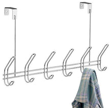 Load image into Gallery viewer, Top rated interdesign classico over door organizer hooks 6 hook storage rack for coats hats robes or towels chrome