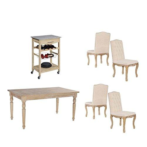 6 Piece Dining Set with Dining Table and Dining Chairs with Kitchen Island in Natural Distressed