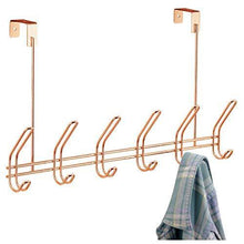 Load image into Gallery viewer, Get interdesign classico over door storage rack organizer hooks for coats hats robes clothes or towels 6 dual hooks copper