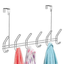 Load image into Gallery viewer, Amazon best interdesign classico over door organizer hooks 6 hook storage rack for coats hats robes or towels chrome