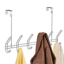 Load image into Gallery viewer, Best interdesign classico over door organizer hooks 6 hook storage rack for coats hats robes or towels chrome