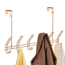 Load image into Gallery viewer, Kitchen interdesign classico over door storage rack organizer hooks for coats hats robes clothes or towels 6 dual hooks copper