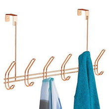 Load image into Gallery viewer, Home interdesign classico over door storage rack organizer hooks for coats hats robes clothes or towels 6 dual hooks copper