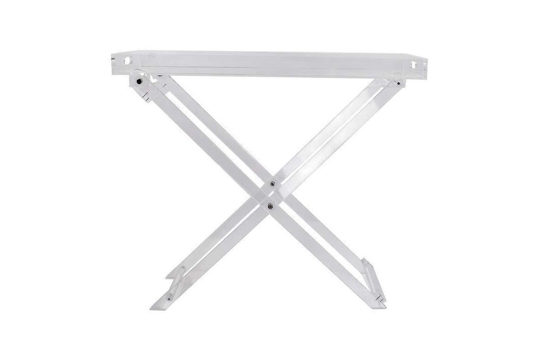 Acrylic Folding Tray Table - Modern Chic Accent Desk - Kitchen and Bar Serving Table - Elegant Clear Design - by Designstyles