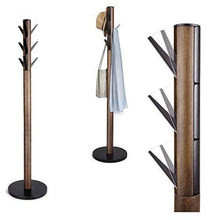 Load image into Gallery viewer, Heavy duty umbra flapper coat rack clothing hanger umbrella holder and hat organizer great for entryway black walnut