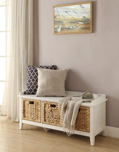 Rectangular Wooden Bench with Storage Basket