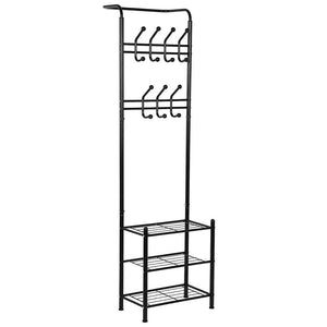 Top hall tree coat rack black metal coat hat shoe bench rack 3 tier storage shelves free standing clothes stand 18 hooks entryway corner hallway garment organizer
