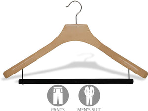 Discover deluxe wooden suit hanger with velvet bar natural finish chrome swivel hook large 2 inch wide contoured coat jacket hangers set of 24 by the great american hanger company