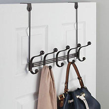 Load image into Gallery viewer, Related mdesign vintage decorative metal double over the door multi 10 hooks storage organizer rack for hats and coats hoodies scarves purses leashes bath towels robes bronze
