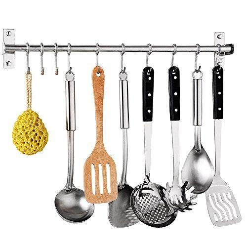 Latest sonorospace kitchen sliding hooks stainless steel hanging rack rail organize kitchen tools with utensil removable s hooks for towel pot pan spoon coats bathrobe bbq wall mounted hanger