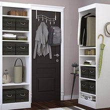 Load image into Gallery viewer, Save over the door rack with hooks 5 hangers for towels coats clothes robes ties hats bathroom closet extra long heavy duty chrome space saver mudroom organizer by kyle matthews designs
