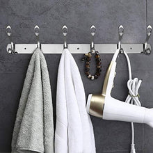Load image into Gallery viewer, Great arplis wall mounted hooks stainless steel rack wall hanger with 6 double hooks design coat towel rail hook for foyer hallways and bedrooms