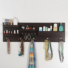 Load image into Gallery viewer, On amazon woodymood professional wall organizer shelf key hooks coat hooks mail pocket ledges w 37 l 3 7 h 12 dark brown