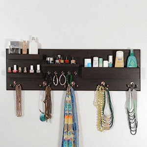 On amazon woodymood professional wall organizer shelf key hooks coat hooks mail pocket ledges w 37 l 3 7 h 12 dark brown