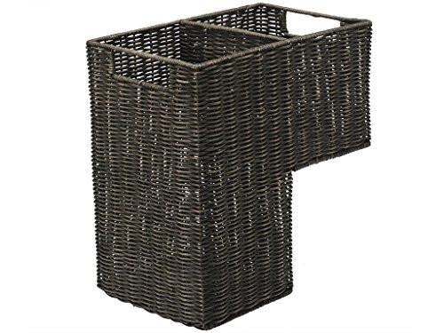 KOUBOO Wicker Stair Step Basket in Wash, Dark Brown