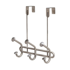 Best interdesign forma ultra over door storage rack organizer hooks for coats hats robes clothes or towels 3 dual hooks brushed stainless steel