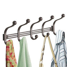 Load image into Gallery viewer, Results mdesign vintage decorative metal double over the door multi 10 hooks storage organizer rack for hats and coats hoodies scarves purses leashes bath towels robes bronze