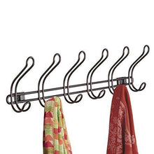 Load image into Gallery viewer, Featured interdesign classico wall mount over door storage rack organizer hooks for coats hats robes clothes or towels 6 dual hooks bronze