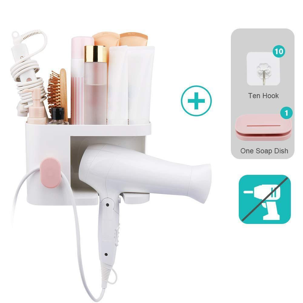 AriTan Wall Mounted Hair Dryer Holder Rack, No Drilling Styling Tool Organizer Storage Basket for Bathroom, Give 10 Hooks + 1 Soap Holder