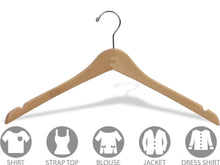 Load image into Gallery viewer, Great the great american hanger company curved wood top hanger box of 25 17 inch wooden hangers w natural finish chrome swivel hook notches for shirt jacket or coat