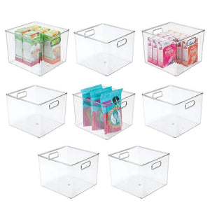 "mDesign Plastic Food Storage Container Bin with Handles - for Kitchen, Pantry, Cabinet, Fridge/Freezer - Large Organizer for Snacks, Produce, Vegetables, Pasta - BPA Free, 10"" Square, 8 Pack - Clear"