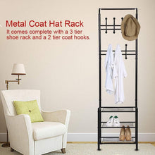 Load image into Gallery viewer, Amazon best hall tree coat rack black metal coat hat shoe bench rack 3 tier storage shelves free standing clothes stand 18 hooks entryway corner hallway garment organizer