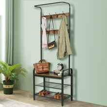 Load image into Gallery viewer, Storage organizer kingso industrial coat rack hall tree entryway coat shoe rack 3 tier shoe bench 7 hooks wood look accent furniture with stable metal frame easy assembly