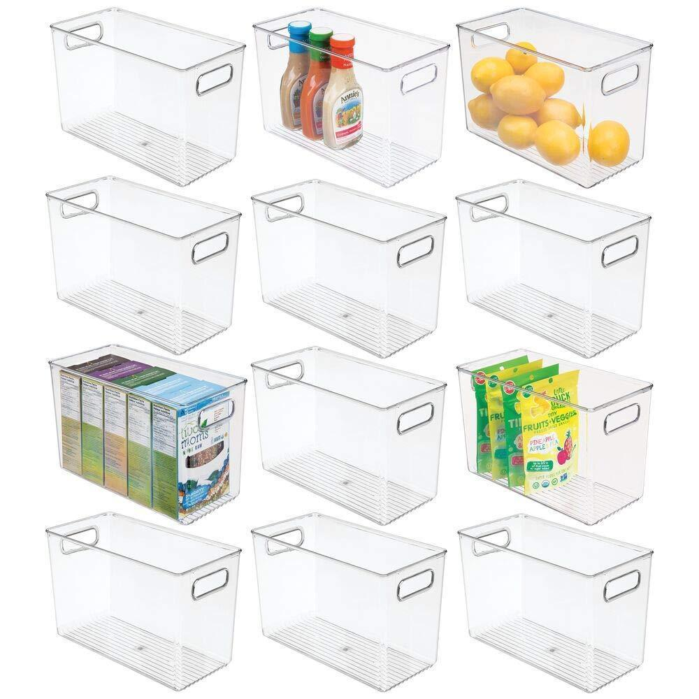 mDesign Plastic Food Storage Container Bin with Handles - for Kitchen, Pantry, Cabinet, Fridge/Freezer - Narrow for Snacks, Produce, Vegetables, Pasta - BPA Free, Food Safe - 12 Pack - Clear