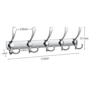 Great wall mounted coat hook rack 2 pack 30 hooks stainless steel coat hangers rack robe hat hooks with sticker