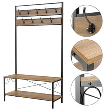 Load image into Gallery viewer, Amazon best topeakmart vintage coat rack 3 in 1 hall tree entryway shoe bench coat stand storage shelves 9 hooks in black metal finish