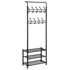 Home songmics entryway coat rack with storage shoe rack hallway organizer 18 hooks and 3 tier shelves metal black urcr67b
