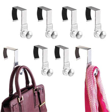 Load image into Gallery viewer, Related mdesign modern metal and plastic office over the cubicle storage organizer hooks wall panel hangers for hanging accessories coats hats purses bags keychain 8 pack clear brushed