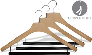 Discover the deluxe wooden suit hanger with velvet bar natural finish chrome swivel hook large 2 inch wide contoured coat jacket hangers set of 24 by the great american hanger company